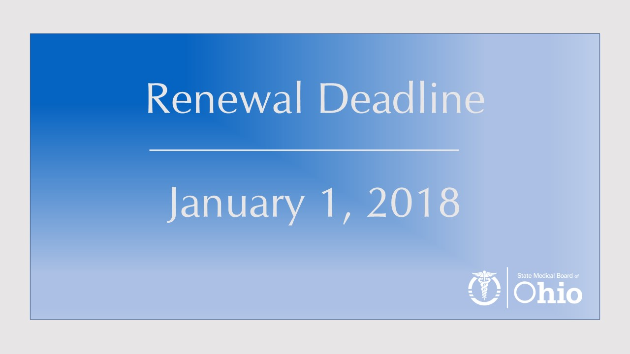 License Renewal Deadline on 1/1/18